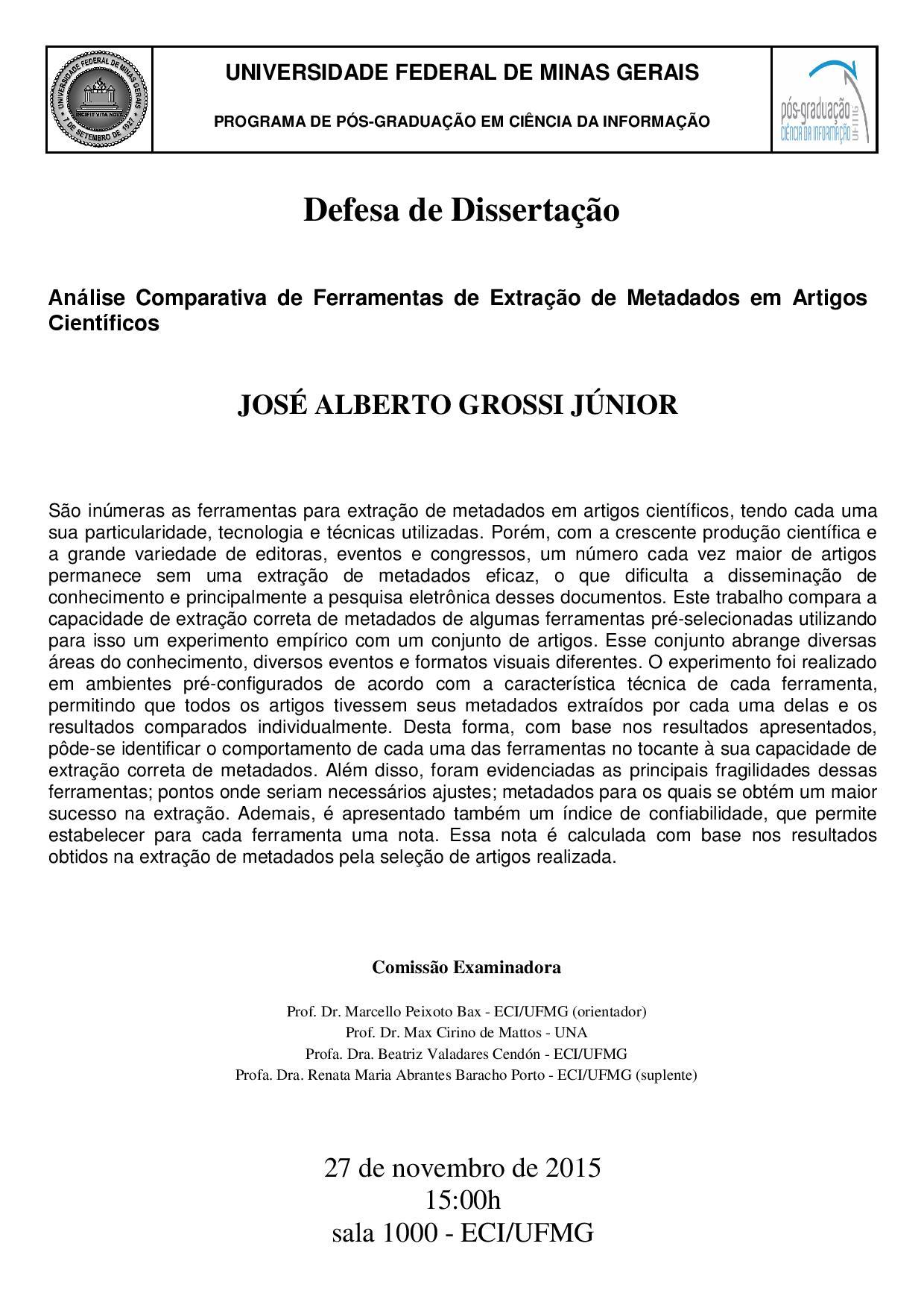Defesa Dissertação José Alberto Grossi Júnior