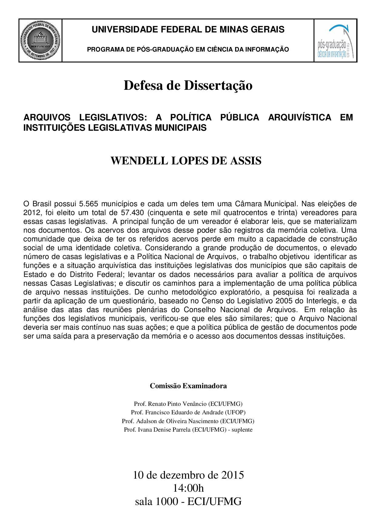 Defesa Dissertação Wendell Lopes de Assis