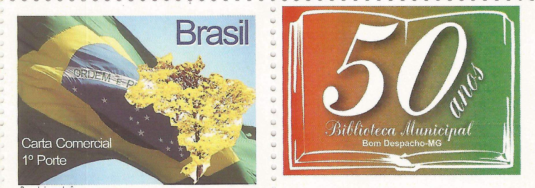 Selo postal em homenagem ao cinquentenário da Biblioteca
