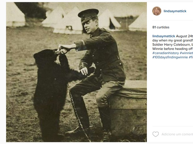 Lindsay Mattick publicou foto do bisavô com a ursinha Winnie em 1914 (Foto: Reprodução/Instagram)