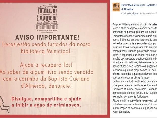 Aviso foi publicado na rede social para destacar a frustração após a descoberta de mais dois furtos na Biblioteca Municipal Baptista Caetano d'Almeida em São João del Rei (Foto: Reprodução/Facebook)